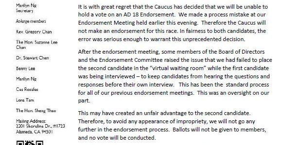 AD 18 Endorsement Vote Cancelled